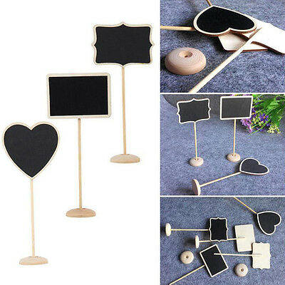 10PCS Mini Blackboard Chalkboard Wooden Stand Message Board Holder Wedding Party