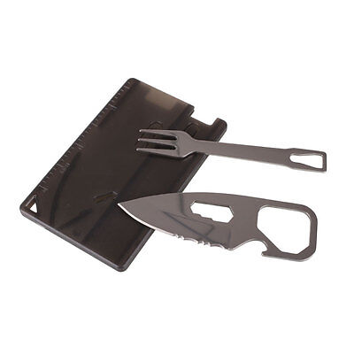 Outdoor Survival Pocket Card Knife Fork Set Multifunction Camping Hiking