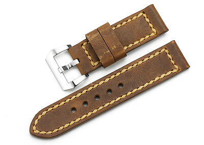 24mm Rust Brown Genuine Leather Watch Band Steel Tan Buckle Strap For Panerai