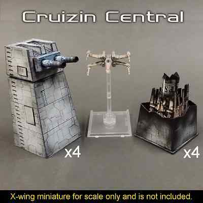 4x Turbo Laser Turret w/ magnet for Star Wars X wing miniatures paper craft card
