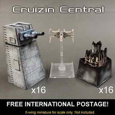 16x Turbo Laser Turret & magnet for Star Wars X wing miniatures paper craft card