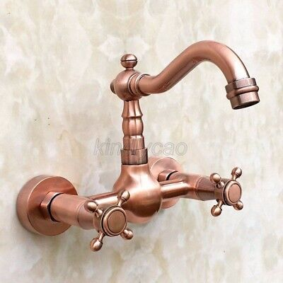 Antique Red Copper Wall Mounted Kitchen Faucet Vessel Sink Mixer Tap Krg030