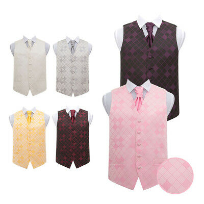 DQT Woven Diamond Patterned Formal Wedding Men's Waistcoat & Cravat FREE Pin