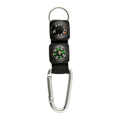 Multifunction Outdoor Camping w/ Keychain Compass Thermometer 3 in 1 Black