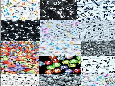 100 acrylic assorted flat round/ cube letters & alphabet beads 6,7mm