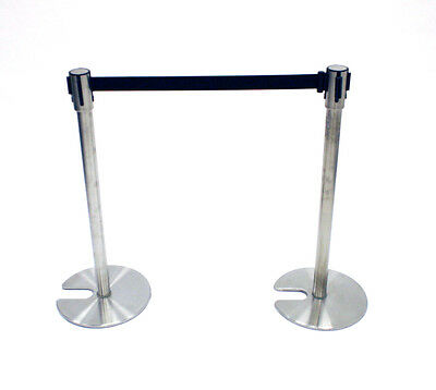 LG-18D Stainless Steel Stretch Barriers, Queue Dividers with Black Webbing, 2M