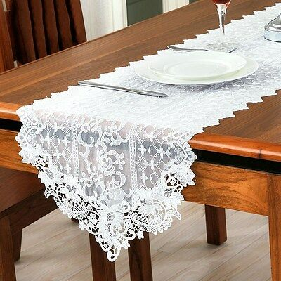 New Lace Table Runner White Embroidery Cloth Wedding Party Banquet Home Decor