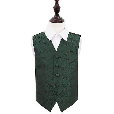 DQT Woven Floral Paisley Emerald Green Page Boys Wedding Waistcoat 2-14 Years
