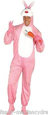 Mens Ladies Pink Rabbit Easter Bunny Animal Fancy Dress Costume Outfit Large
