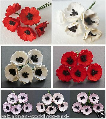 Miniature Mulberry Paper Poppy Flower -  Cards Favours Crafts Embellishment