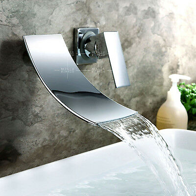 Bathroom Waterfall Wall Mounted Basin Sink Faucet Mixer Tap Chrome Contemporary