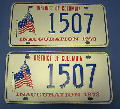 1973 DC Inauguration license plates matched pair excellent