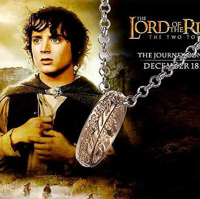 Lord of the Rings Bilbo Hobbit ring Tungsten with Chain LOTR Cosplay Jewelry