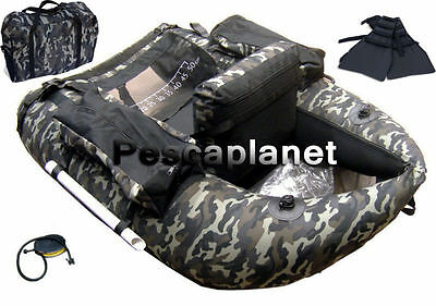KP1122 Belly Boat Camouflage Mimetico Pesca Mar Lago 4 Camere Aria + Pinne  CSPG