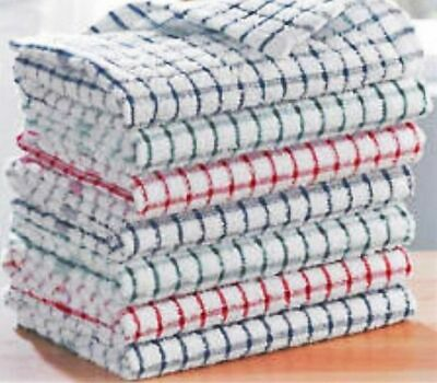 Pack Of 15 Terry 100% Cotton Tea Towels Set Kitchen Dish Cloths Cleaning Drying