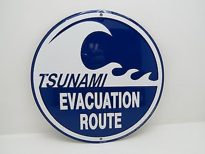 12 Inch Tsunami Evacuation Route Aluminum Stamped Sign Nautical Maritime Beach