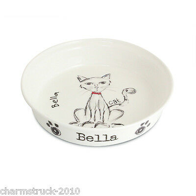 New Personalised Scribble Cat Pet Food Water Dish Bowl Add Any Name Great Gift