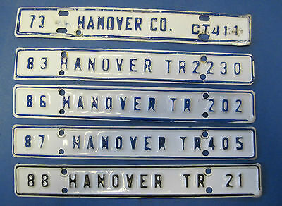 5 different Hanover County license plates from Virginia