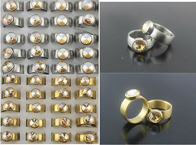 Job Jewelry Lots 25pcs Stainless Steel CZ Gold/Silver P Fashion Unisex Top Rings