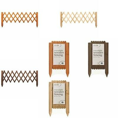 1 Extendable Garden Lawn Edging Wooden Wood Trellis Border Fence Pine Brown Tan