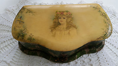Antique Victorian Vanity Dresser Box Rectangle Celluloid Pink Lining Shabby