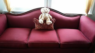 Antique Burgundy Wooden Victorian Couch