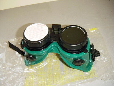 US Safety U002368150 Green Frame Flip Up Front Hooded Vents 5.0 Welding Goggles