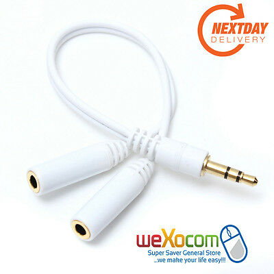 Male to 2 Female 3.5mm Jack Headphone Earphone Audio Splitter Stereo Adapter