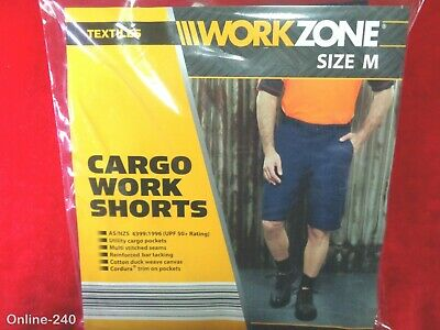 NEW Workzone 10 Pocket Cargo Cotton Drill Work Shorts UPF50+Protection Navy 87CM
