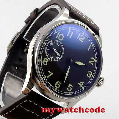 44mm parnis black dial 6497 movement leather strap hand winding mens watch P361