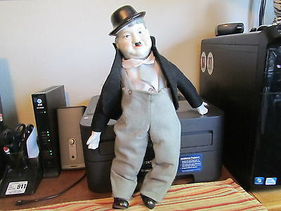 """Vintage Laurel & Hardy 19"""" OLIVER HARDY porcelain DOLL- Very Good Condition-RARE"""