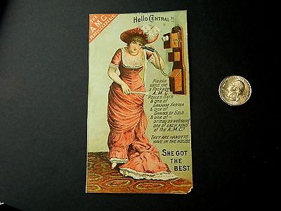 A.M.C. Perfect Cereals Victorian Lady On Phone Rolled Oats Grains Trade Card D7