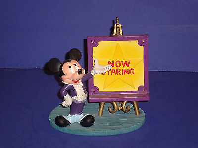 """Disney Vintage NOW STARRING Mickey Mouse Cute Figurine 6"""" Tall Resin"""