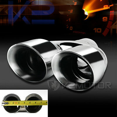 """1X Muffler Tip Exhaust Tail Pipe Chrome Dual Round Inlet: 2.6"""" Outlet: 3.25"""""""