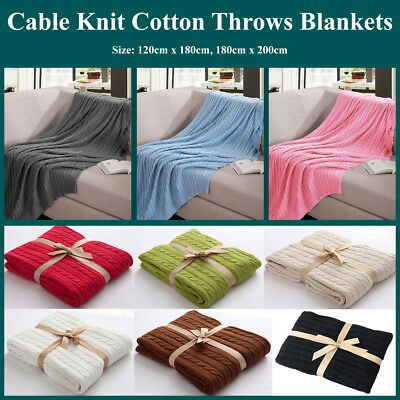 Classic 100% Cotton Knit Knitted Throw Blanket Cable Knitting Pattern Home Décor