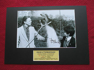 David Attenborough Naturalist Genuine Hand Signed A3 Mounted Photo Display - Coa