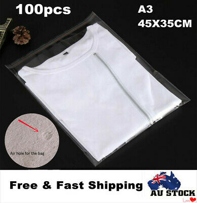100x Clear Self Sealing Adhesive Cello Cellophane Bags Resealable Packing Bag A3