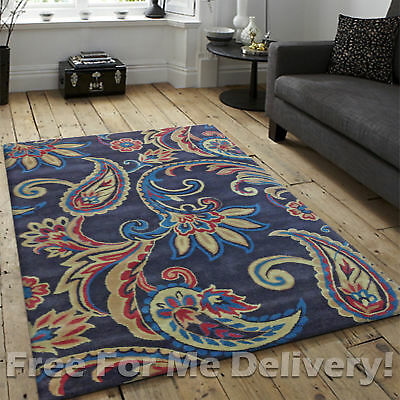 KIMI COLOURFUL PAISLEY THICK WOOL MODERN FLOOR RUG (S) 110x160cm *FREE DELIVERY*
