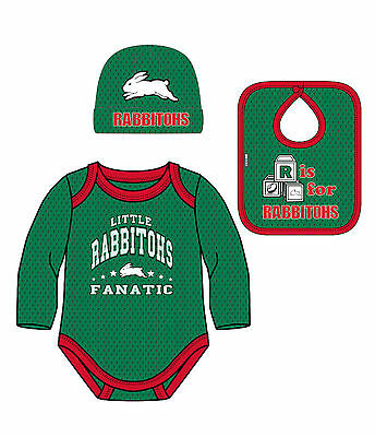 South Sydney Rabbitohs NRL Bodysuit Hat Bib Gift Pack size 0