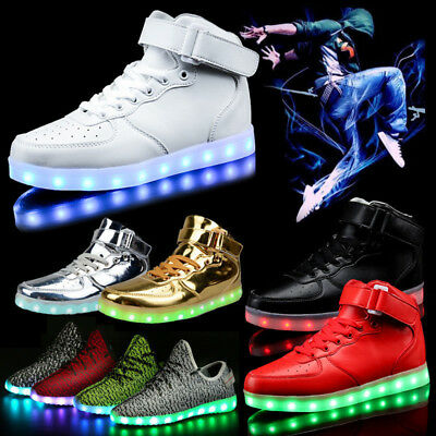 New Xmas Gift Women Men 7 LED Light Up Shoes USB Charge Luminous Casual Sneakers