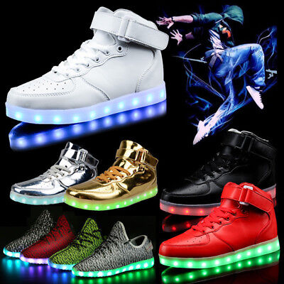 Unisex Women Men Gift 7 LED Light Up Shoes USB Luminous Casual High Top Sneakers