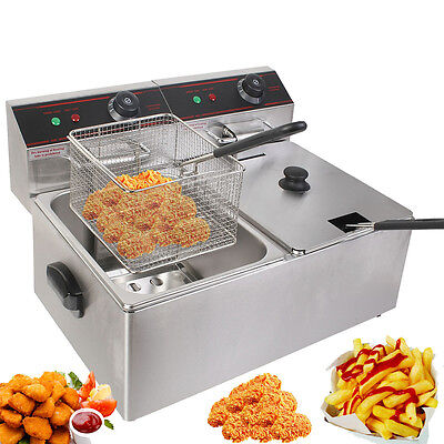 12L Electric Deep Fryer Twin Basket Tank 5000W Commercial Stainless Steel Chip