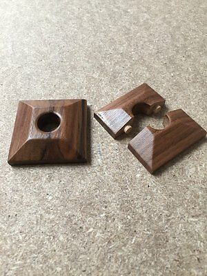 x 2 Pyramid Walnut Lacquered Pipe Covers / Rad Rings / Collars for 15mm pipe