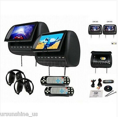 "2x 9"" Car Headrest DVD Player HDMI LCD Screen Monitor FM Game+2×Headphones Grey"