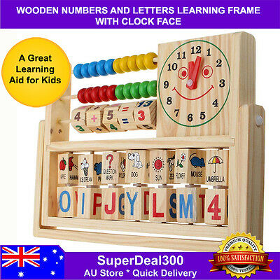 Wooden Counting Letters Alphabet Learning Educational Abacus Clock Frame