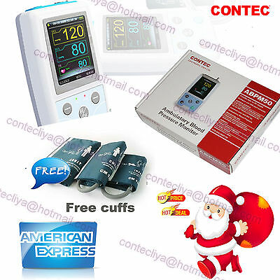 NIBP Monitor 24H Ambulatory Blood Pressure Monitor Holter ABPM50+Software,3 Cuff