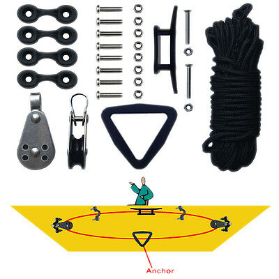 Kayak Canoe Anchor Trolley Kit System Pulley Cleat Pad Eye Ring Ropes