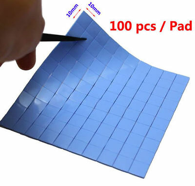 100pcs 10mm*10mm*0.5mm Silicone Thermal Conductive Pad HeatSink for VGA GPU IC