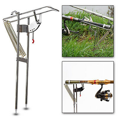 Adjustable Stainless Double Springs Fishing Rod Holder Pole Stand Bracket Rack