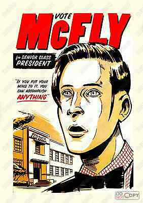 Vote McFly : Reproduction Vintage Film advert, poster, Wall art.